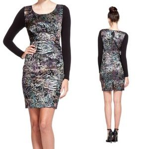 Tracy Reese Metallic Foil Jacquard L/S Shift Dress